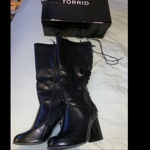 Black lace up back knee wide heal boots